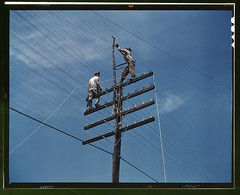 [Men working on telephone lines, probably near a TVA dam hydroelectric plant]  (LOC) | by The Library of Congress