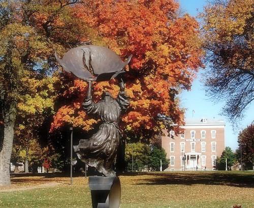 autumn trees fall college campus landscapes oak dancing iowa oldmain stfrancis oaktree wartburg sulpture collegecampus wartburgcollege dancingstfrancis