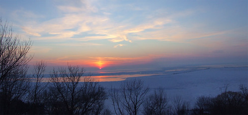winter sunset ontario canada goderich