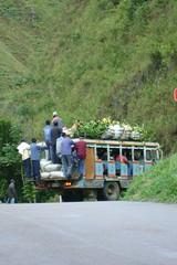 A loaded Chiva bus near San Agustin