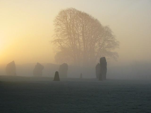 Dawn breaking behind the circle at Avebury