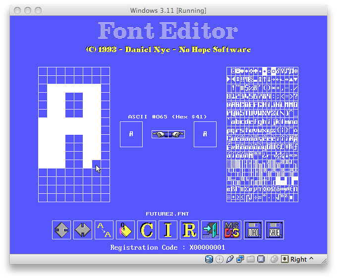 My font editor for MS-DOS - from 1993 ! | Here's the font ed