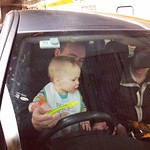 George helping Mark drive through the Channel Tunnel whilst having his breakfast ;-)