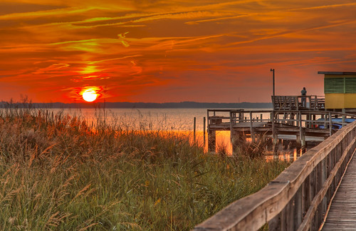 sunset red sea cloud sun plant beach nature grass northcarolina hdr obx