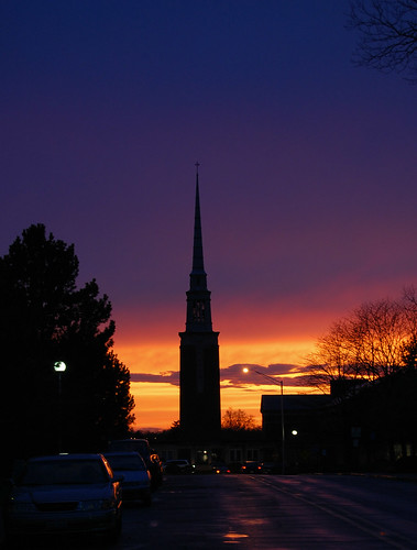 city sunset sky urban orange silhouette one 1 twilight nikon glow purple indiana steeple photofriday urbanlandscape glows parkplace andersonuniversity d40 photofridaypurple jeremystockwellpix parkplacechurchofgod nikond40