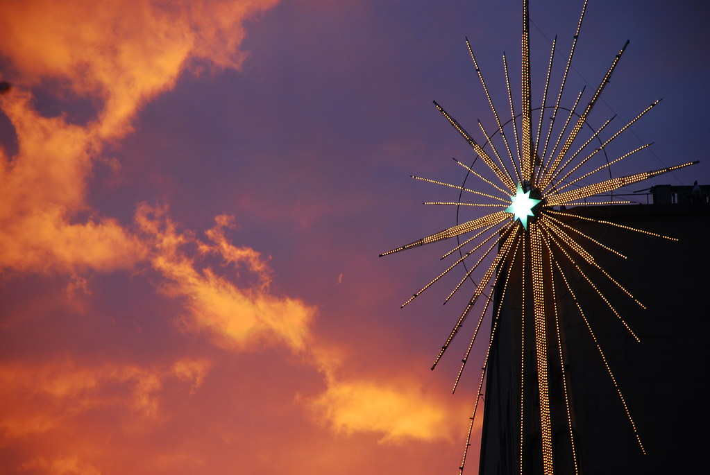 Macy's star at sunset by James Callan