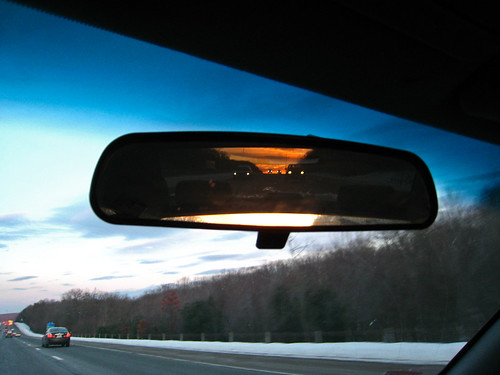 road sunset mirror