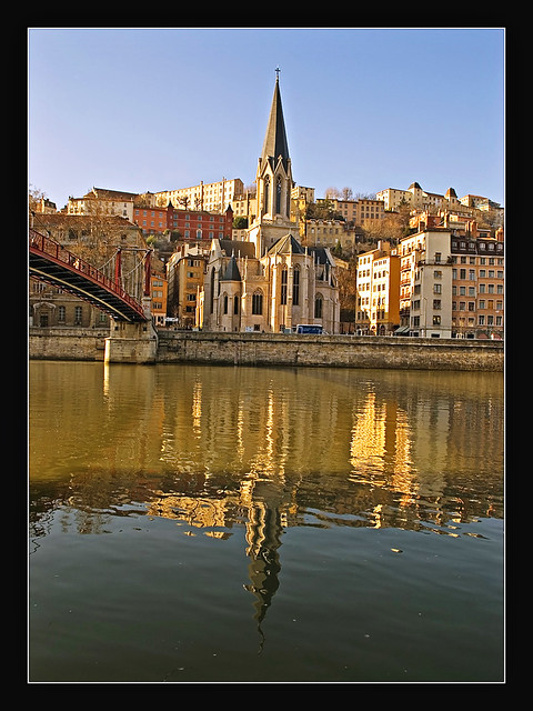 Lyon - St Georges reflected on the Saône river