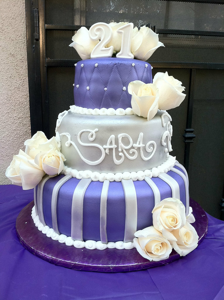 Awesome Purple And Silver 21St Birthday Cake Gaspar Rodriguez Flickr Funny Birthday Cards Online Ioscodamsfinfo