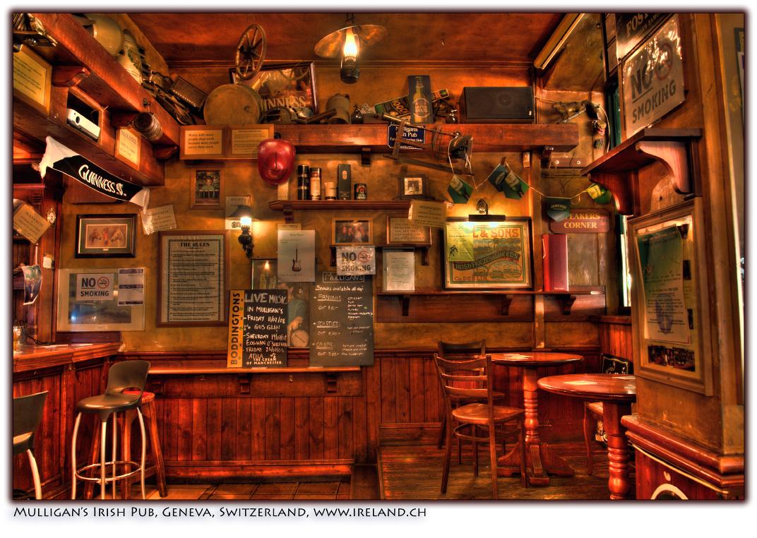 On Black: Mulligans Irish Pub, Geneva, Switzerland, July