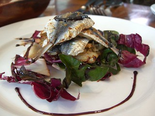 Baked W.A. Sardines with Crunchy Breadcrumbs with Raddichio, Pinenut and Raisin Salad - Tutto Bene | by avlxyz
