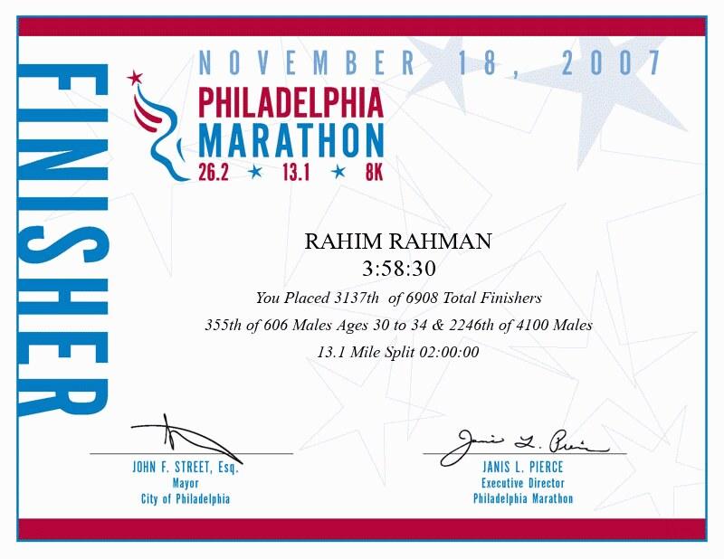 Philadelphia Marathon Finisher Certificate | Rahim Rahman | Flickr