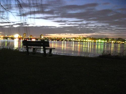 sunset sky water boston night clouds river bench ma lights massachusetts charlesriver newengland charles esplanade mass