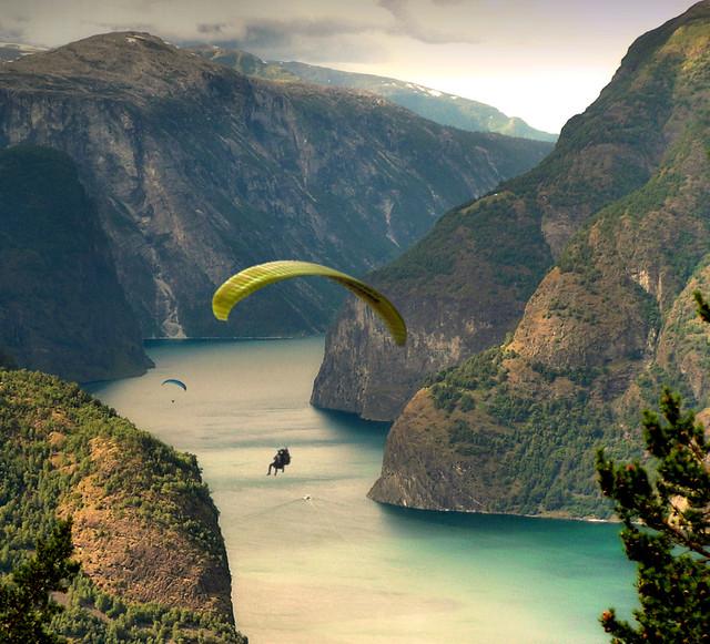 Paragliding along the Aurlandfjords