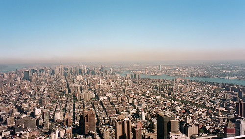 A view of the Manhattan skyline from atop World Trade Center 1's observation deck.