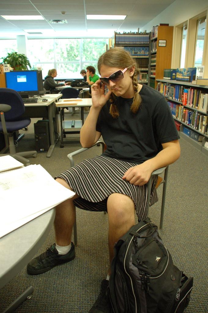 Boy in skirt