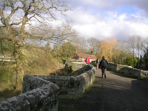 On Stopham Bridge The White Hart in sight. Our first open pub. Amberley to Pulborough