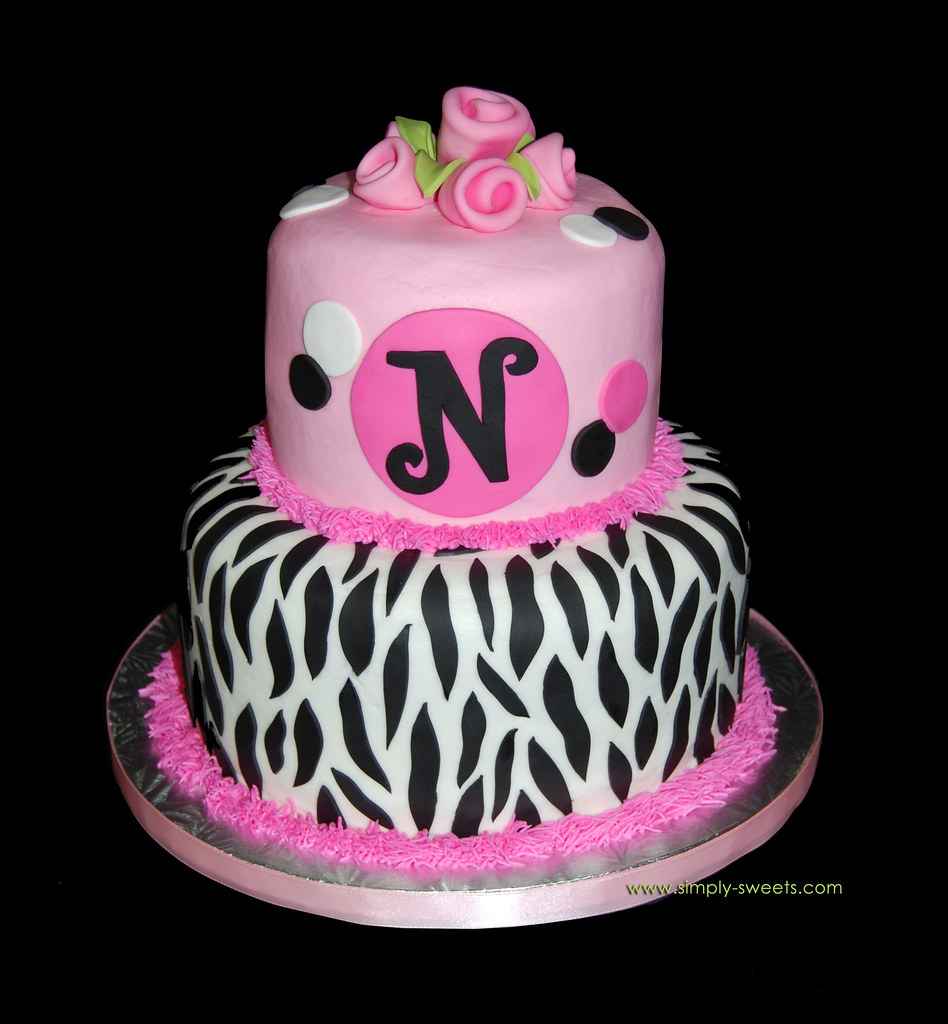 Groovy Pink And Black Monogram Zebra Birthday Cake Read More Abou Flickr Funny Birthday Cards Online Overcheapnameinfo