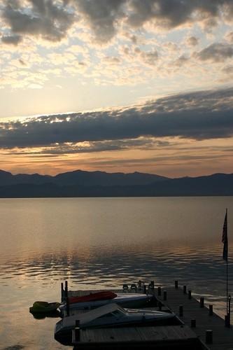 sunset lake water boats dock montana flatheadlake