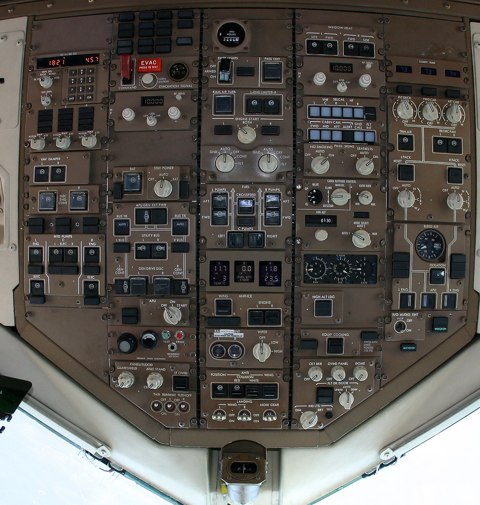 Detailed 757 cockpit overhead panel with notes | Broken down