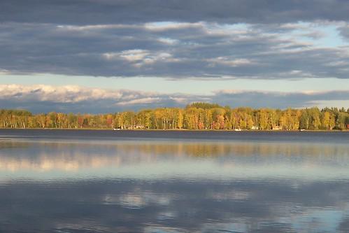sky lake reflection tree fall water colors clouds still cabin kodak netlake
