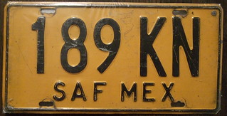 """MEXICO SAF """"Provisional"""" bus plate 1992-98"""