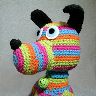 sammy striped crochet dog softie | by patti haskins