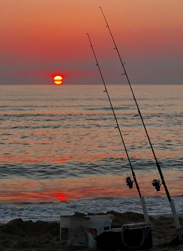 morning light red sea sky sun beach sunrise nc fishing sand north wave carolina obx fishingpole ducknc earlybird