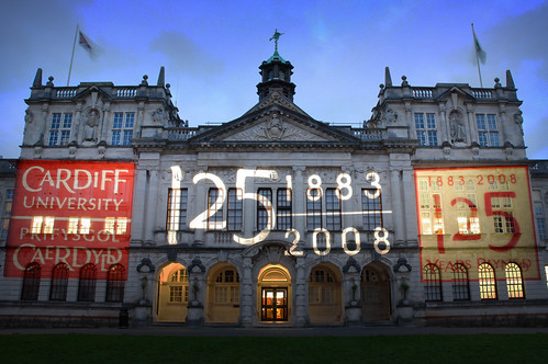 Front of Cardiff University Main Building -  With Projection