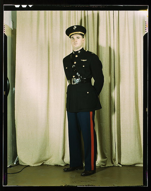 Marine Corps Captain in dress blue uniform, W[orld] W[ar