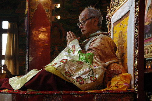Tibetan lama His Holiness Jigdal Dagchen Sakya (of Seattle Washington, USA) on the Throne at Tharlam Monastery, Boudha, Kathmandu, Nepal | by Wonderlane