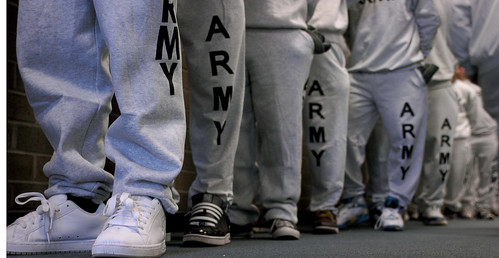 south carolina   U.S. Army recruits wait in line for their ...
