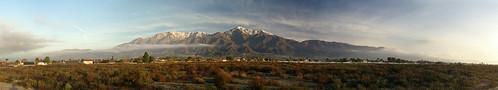 morning panorama snow mountains composite sunrise landscape peak southerncalifornia ranchocucamonga inlandempire sanbernardinocounty mountsanantonio