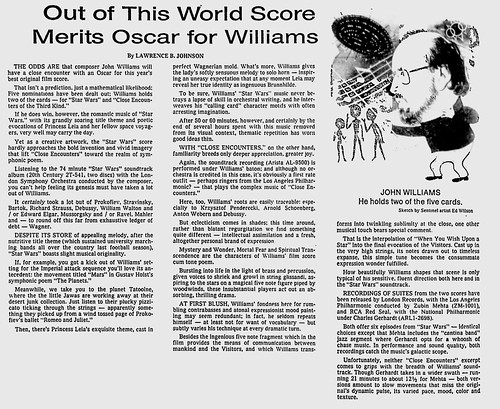 Information - Oscar - Out of this world score merits Oscar for Williams - Milwaukee Sentinel - 1978-03-24 | by mMathab