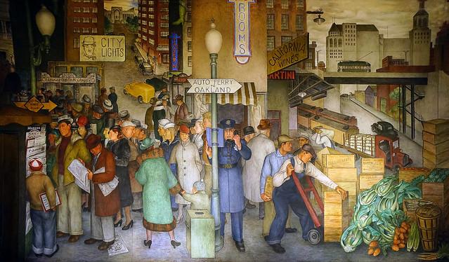 """""""City Life"""" - New Deal era mural inside Coit Tower"""