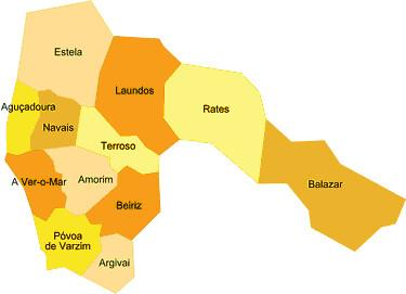 Concelho Da Povoa Do Varzim Portugal Mapa Das Freguesias