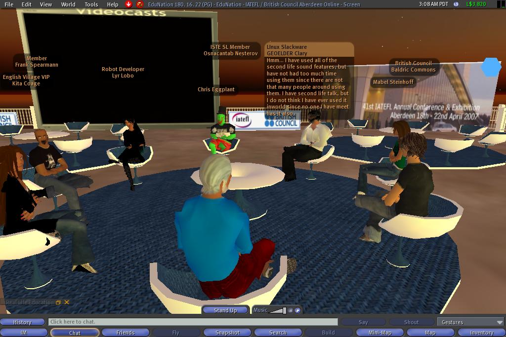 A virtual learning session in Second Life
