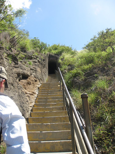 Stairs and tunnel on the way up to the top.