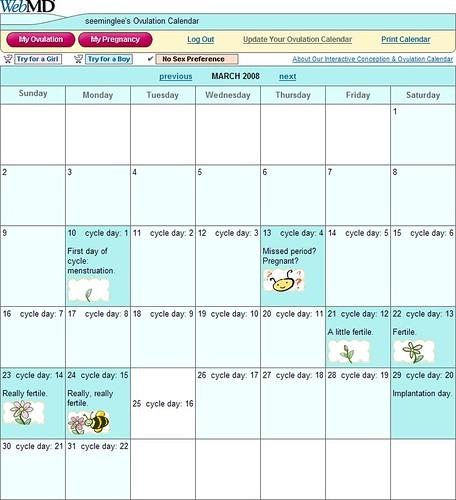 WebMD: Ovulation Calendar / 2008-03-25 / SML Screenshots