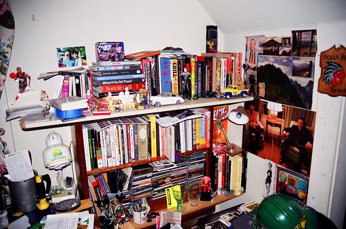 bookcase in the corner