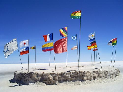 Flags in El Salar de Uyuni