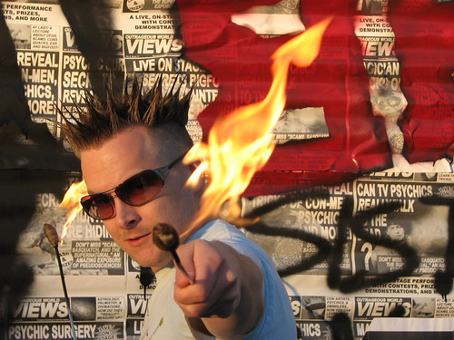 Brian Brushwood promo photo fire eating | by shwooddotcom