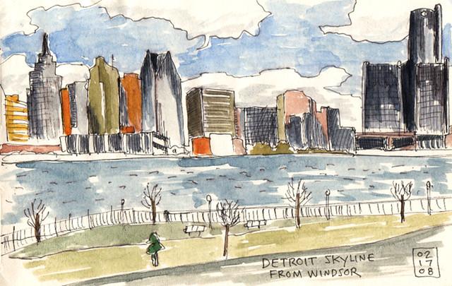 Detroit skyline - Moleskine
