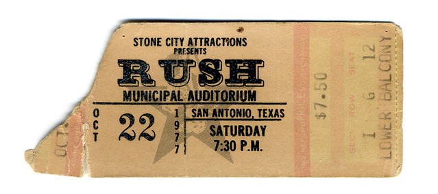 Rush + UFO + Max Webster : Municipal Auditorium : October 22, 1977 : Stone City Attractions : $7.50