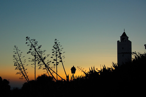 tunisia skylines silhouette backlit backlight sunset sidibousaid arabworld minaret