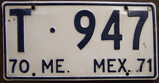 MEXICO, MEXICO STATE, 1970-71 Uknown Type plate