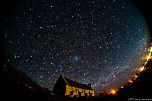 Night sky over the Church of the Good Shepherd | by neilcreek