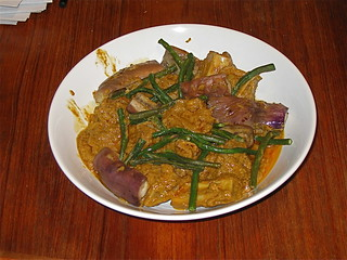 Beef kare-kare (beef curry stew with peanut sauce, eggplant, and string beans) | by Michael Berch