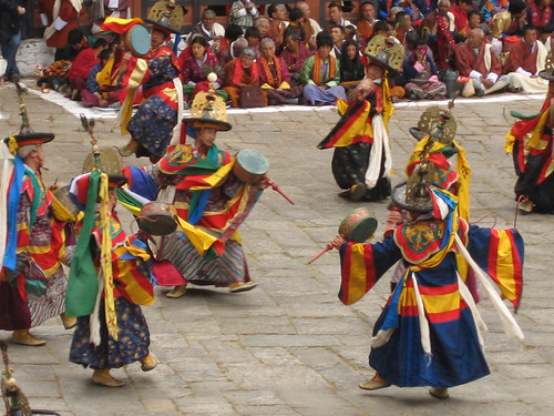 Zshana Ng Cham: Dance of the Black Hats with Drums, Paro Tsechu | by Mary Loosemore
