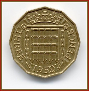 (1) A Threepenny Bit Coin -1959 - The  Tail Side .